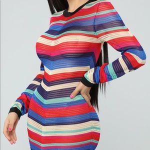 Fashion Nova Multi Stripe Crochet Rainbow Dress 🌈